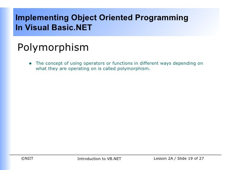 Polymorphism in vb net with example