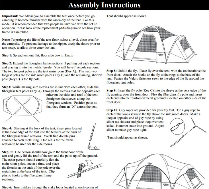 Great bear tent instructions