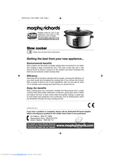 morphy richards slow cooker instruction manual